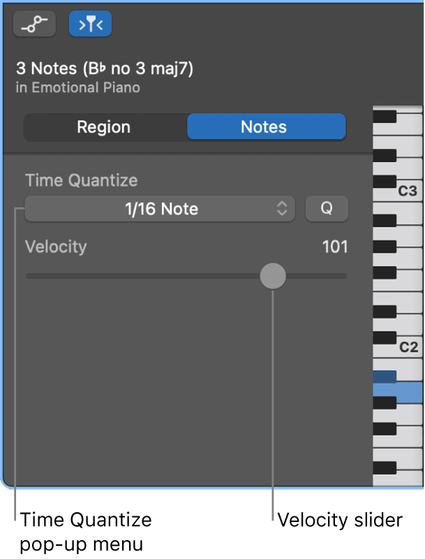 Piano Roll Editor inspector in Notes mode, showing controls.