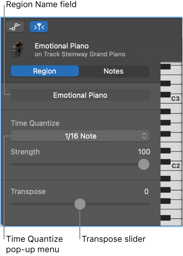 Piano Roll Editor inspector in Region mode, showing controls.