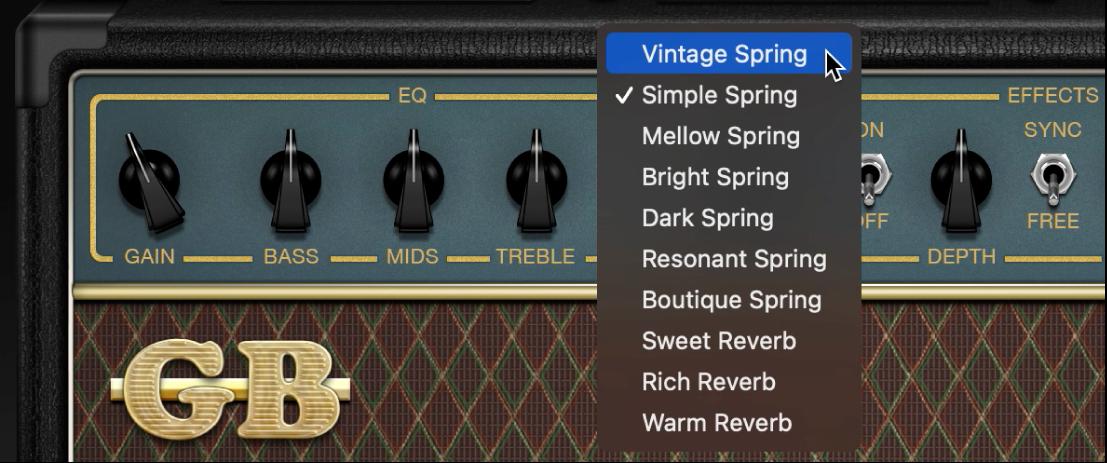 Amp Designer showing Reverb menu and Tremolo and Vibrato controls.
