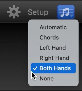 Notation pop-up menu.