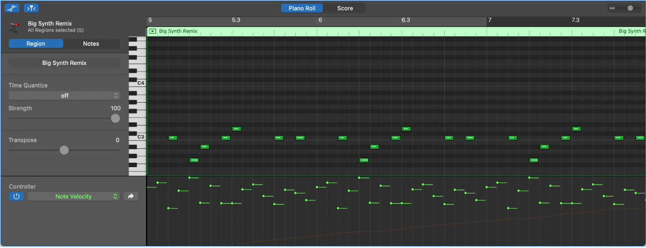 Automation lane in the Piano Roll Editor.