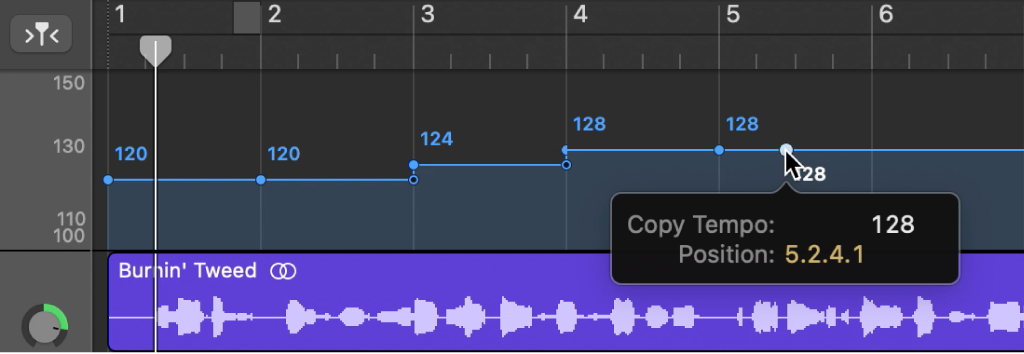 Tempo track,  showing Option-dragging to copy a tempo control point.