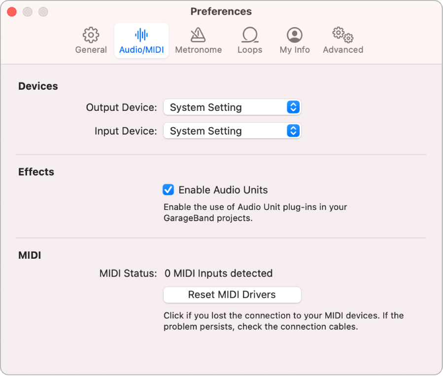 Audio/MIDI preferences.