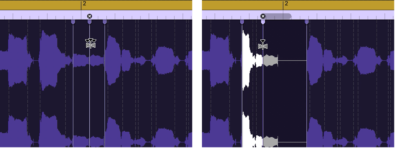 Two audio regions showing the region before and after a flex marker is moved to the left and overlaps the previous flex marker.