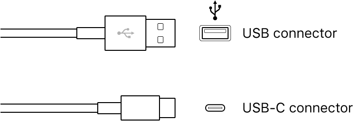 Illustration of USB connectors.