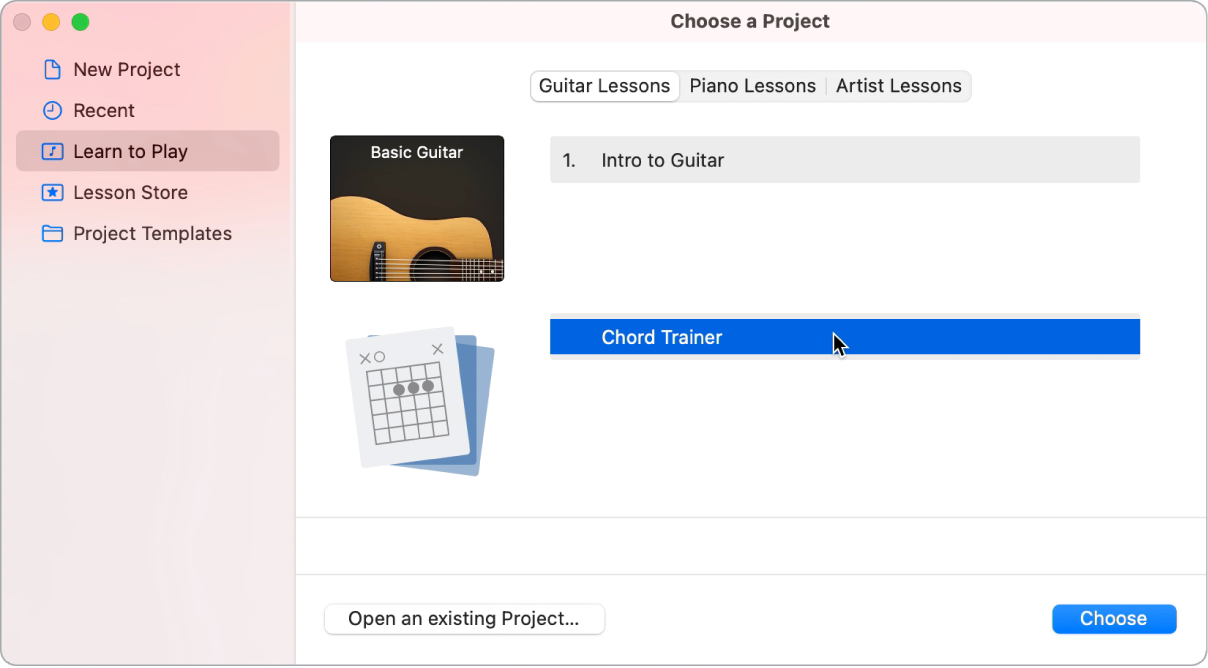 Project Chooser, selecting Chord Trainer.