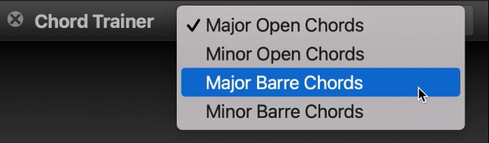Chord Trainer pop-up menu.