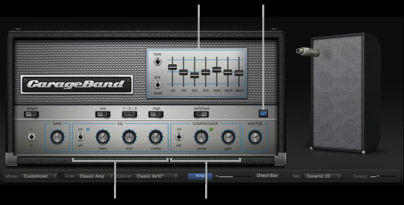 Bass Amp Designer showing EQ and Compressor controls.