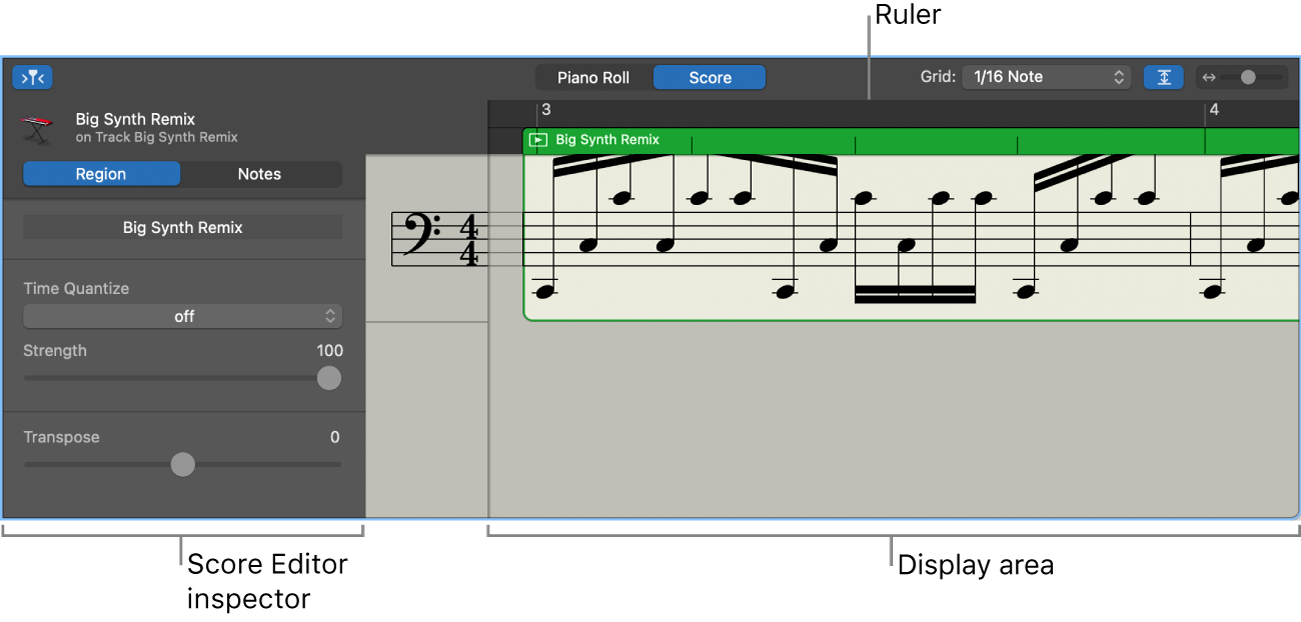 Score Editor showing inspector and display area.