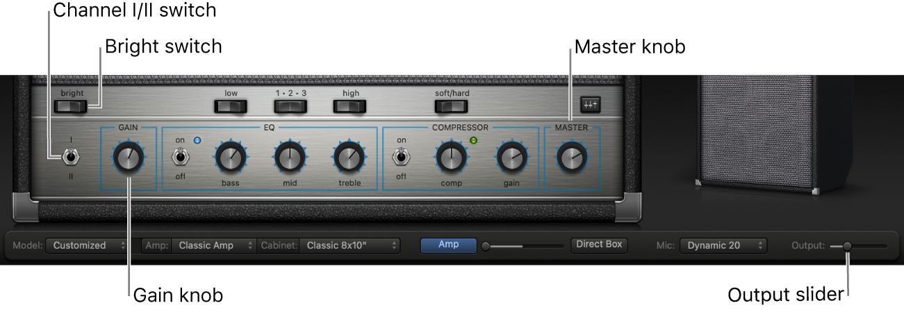 Bass Amp Designer amp controls, including Bright switch, Gain knob, Channel I and II switch, and Master knob.