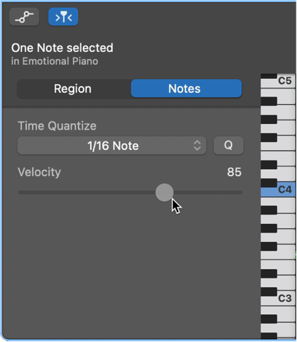 Editing note velocity in the Piano Roll Editor.