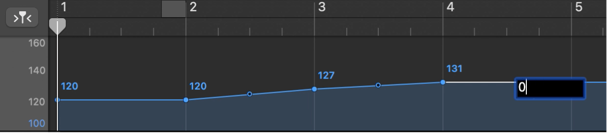Tempo track, showing setting a tempo control point numerically.