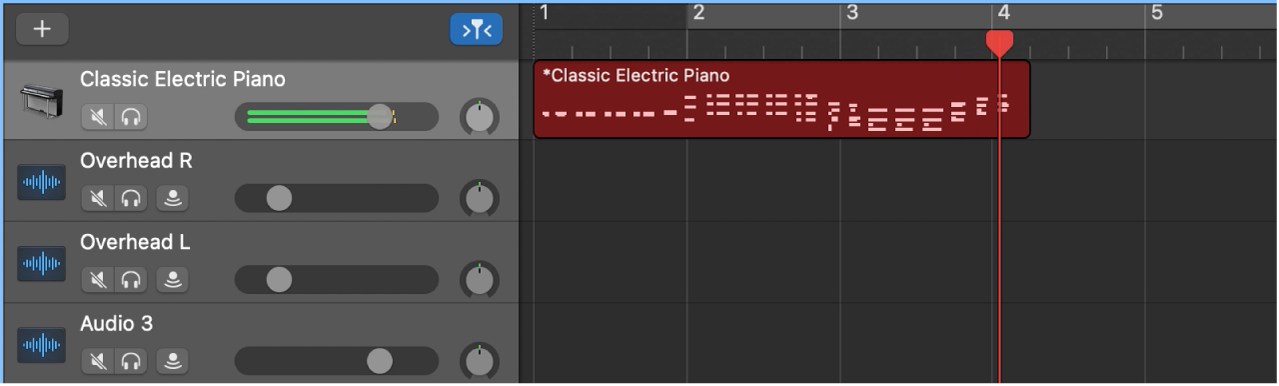 Showing a recorded MIDI region in red in the Tracks area.