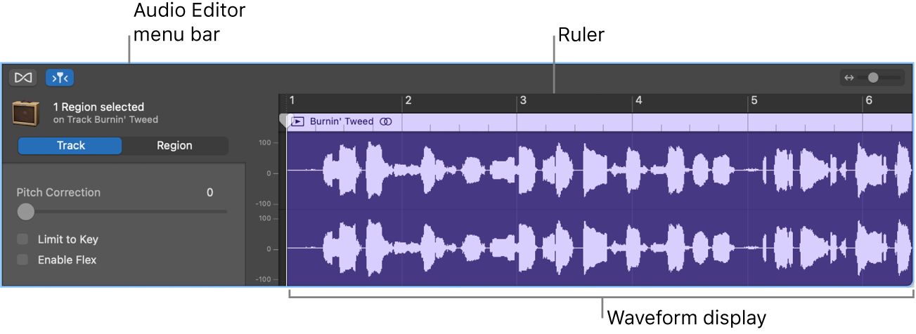 Audio Editor with region selected.