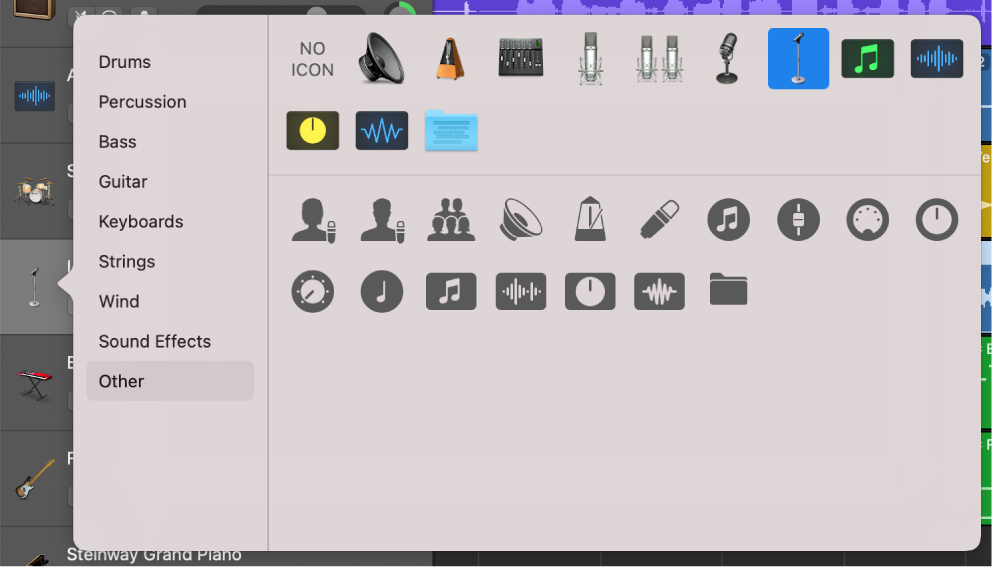 Selecting track icon from Icon shortcut menu.
