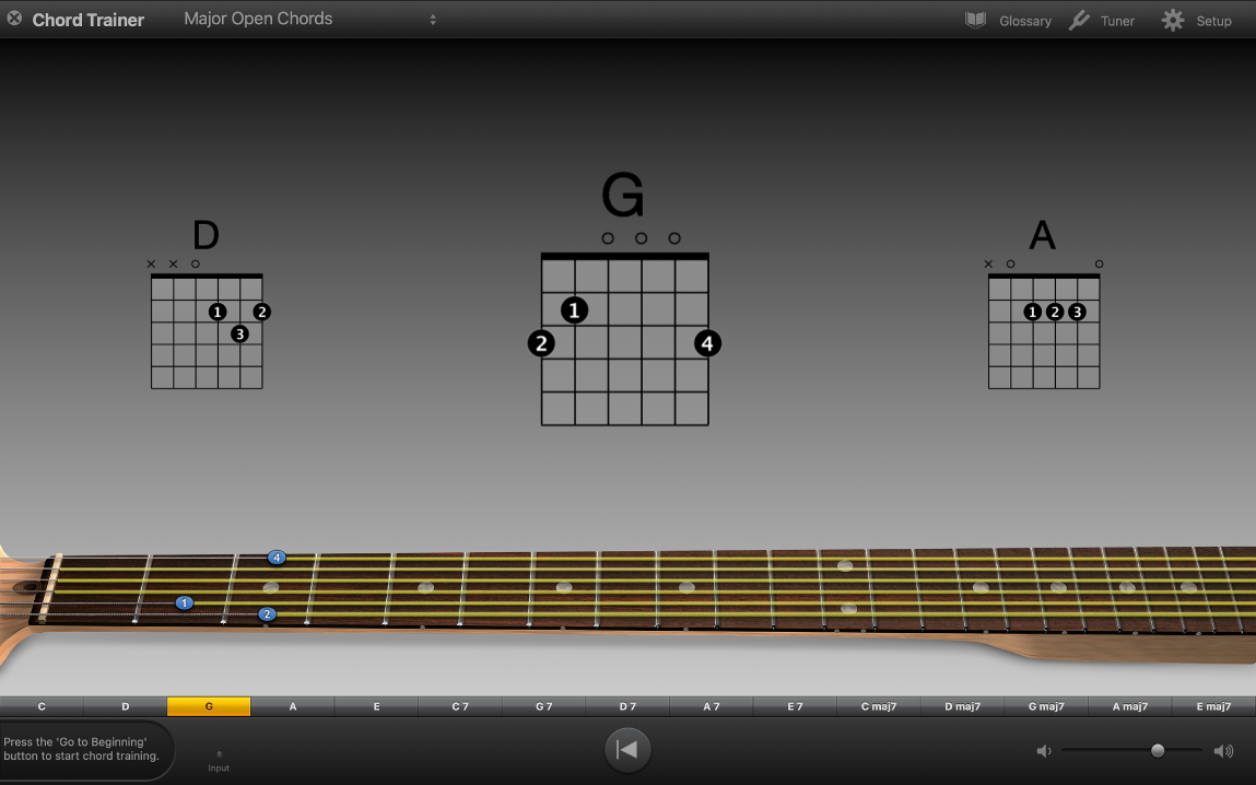 Chord Trainer showing practice chords.