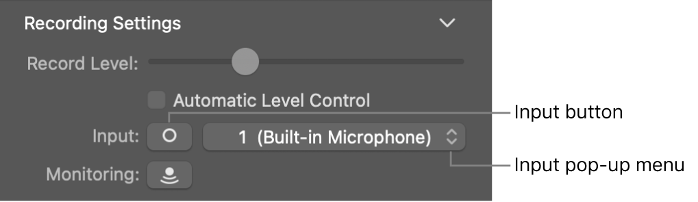 Input button and pop-up menu in the Smart Controls inspector.