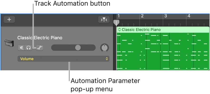 Showing the Track Automation button and the Automation Parameter pop-up menu in a track header.