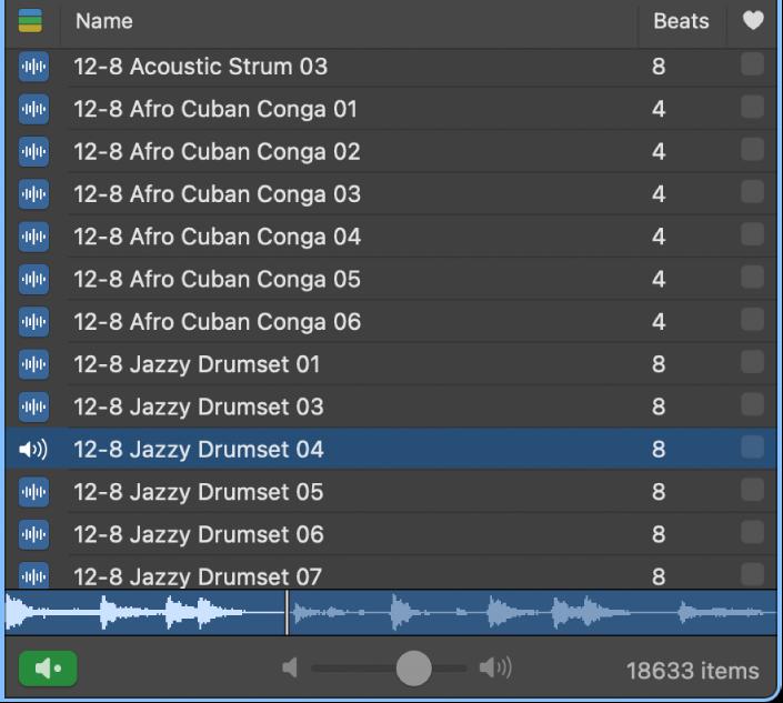 Volume slider in the Loop Browser.