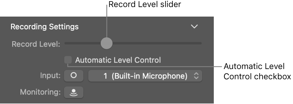 Record Level slider and Automatic Level Control checkbox in the Smart Controls inspector.