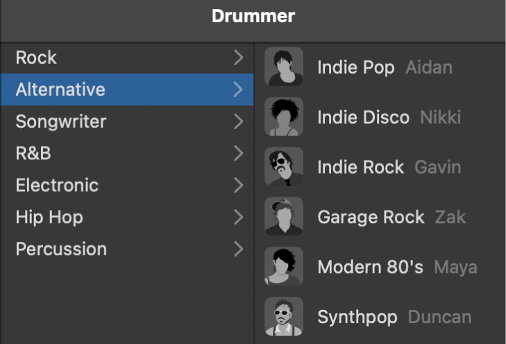 Choosing a genre in the Drummer Editor.