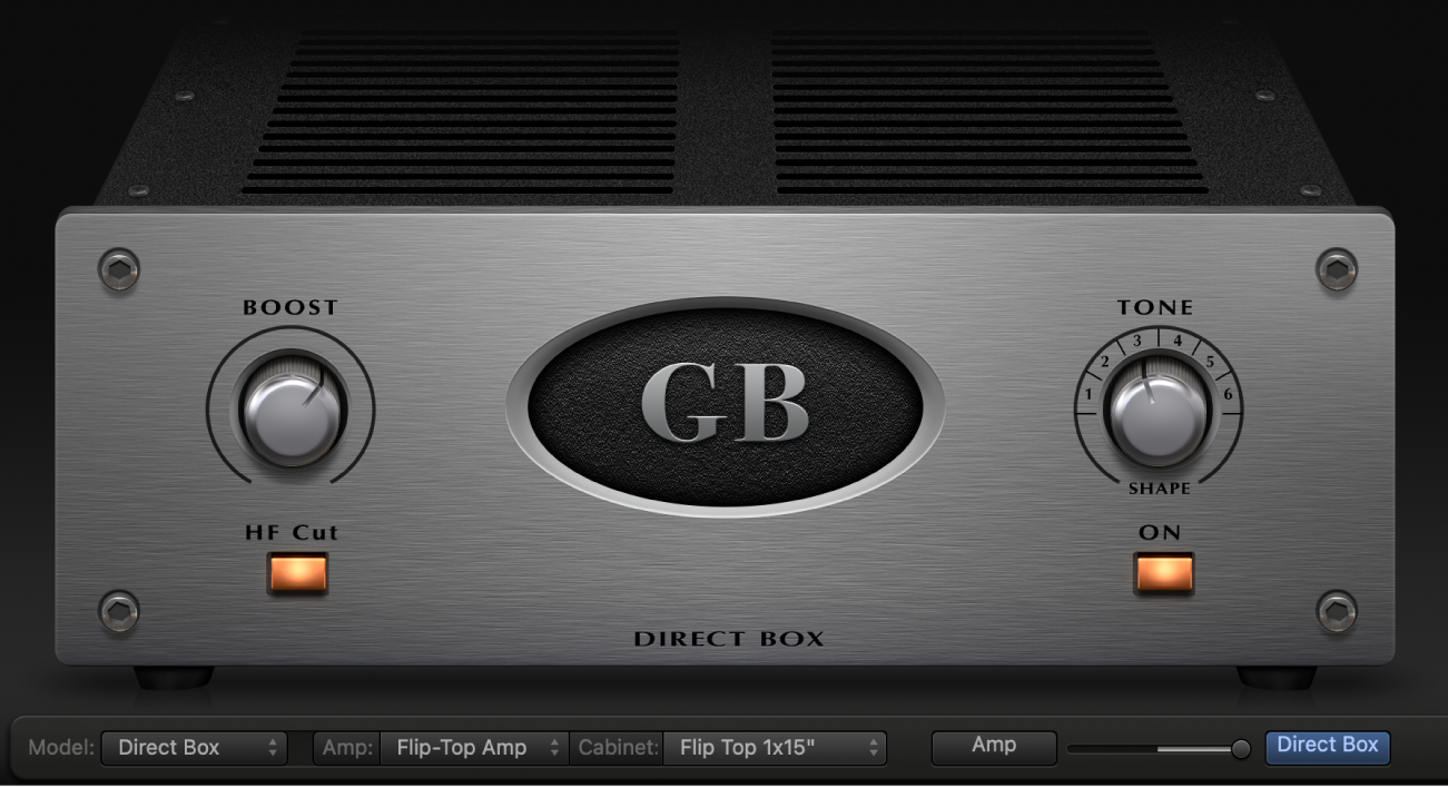 Bass Amp Designer showing Direct Box controls.