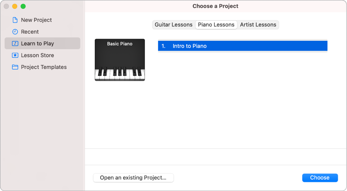 Selecting a Learn to Play lesson in the Project Chooser.