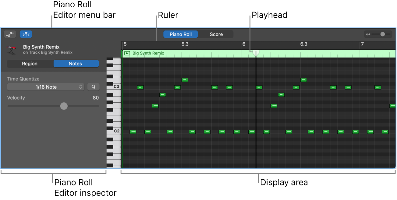 Piano Roll Editor, pointing out MIDI note event.
