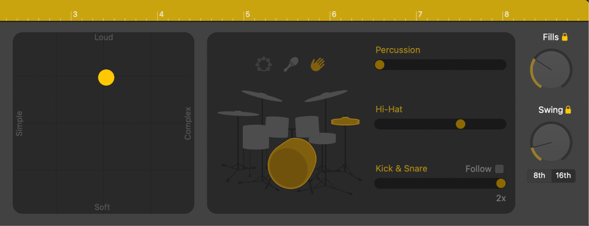 Drummer Editor showing performance controls.