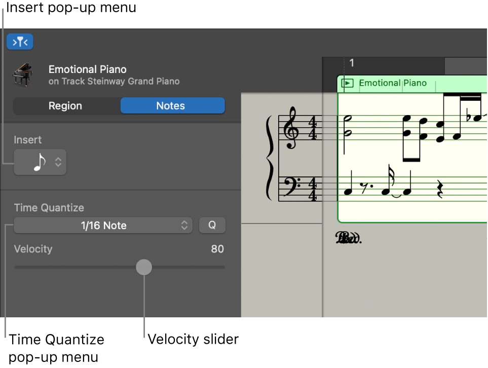 Score Editor inspector in Notes mode, showing controls.