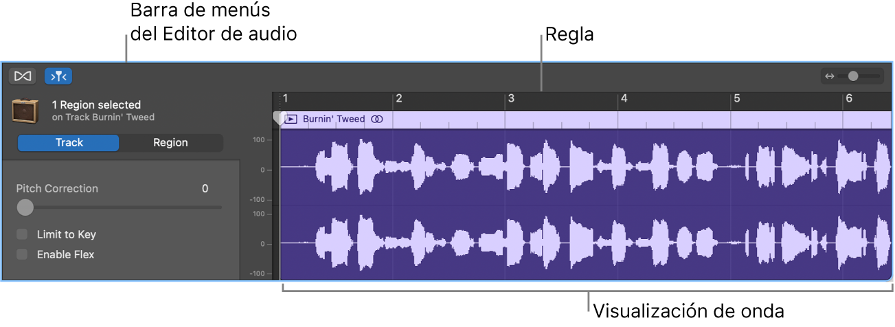 Editor de audio con un pasaje seleccionado.