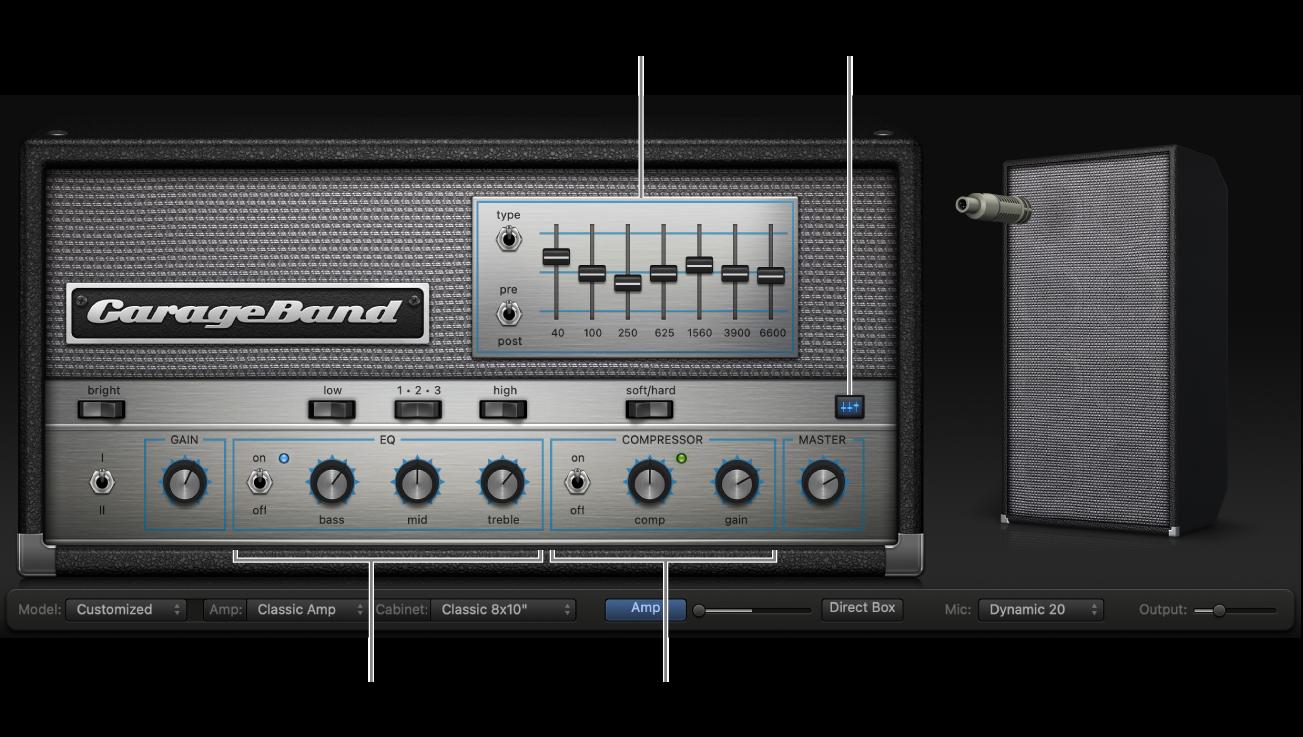 Bass Amp Designer con los controles EQ y Compressor.