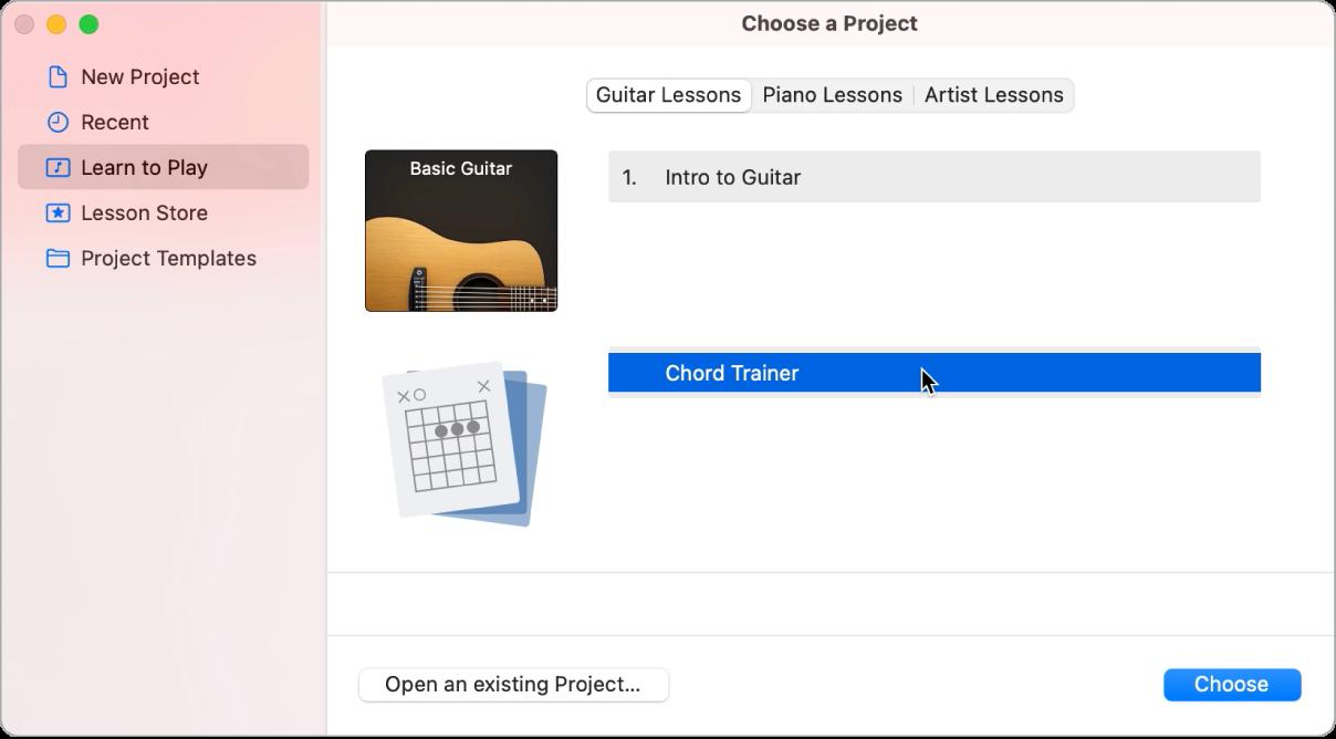 Selector de proyectos, donde se selecciona el preparador de acordes.