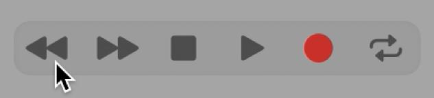 Botones de transporte con el botón Retroceso seleccionado.