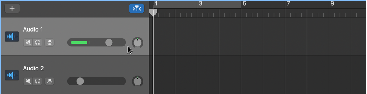 Se está seleccionando la cabecera de una pista de audio.