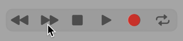 Botones de transporte con el botón Avance seleccionado.