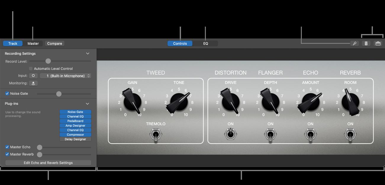 """Panel """"Smart Controls"""" con los controles de pantalla y el inspector."""