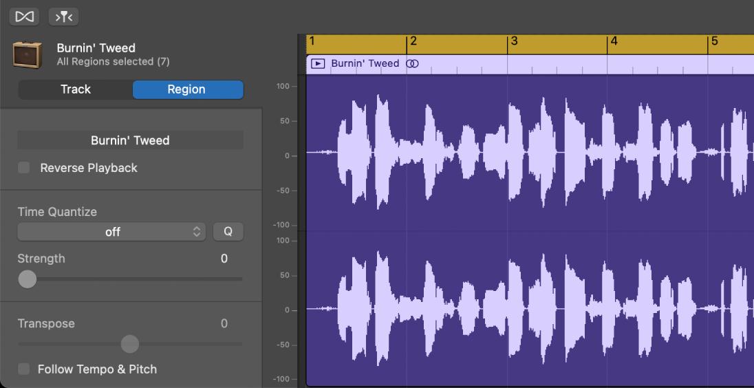 Inspector del editor de audio con los controles de pasaje.