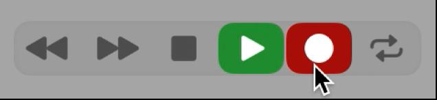 Botones de transporte con el botón Reproducir seleccionado.