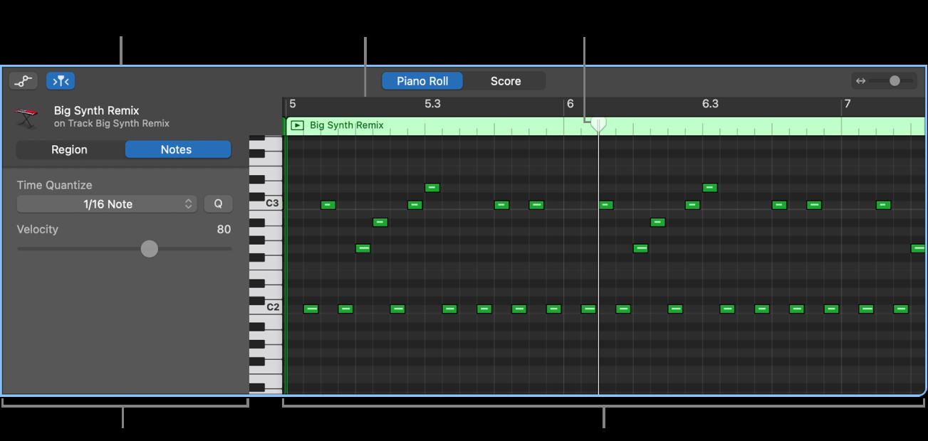 Pianorullaeditori, joka osoittaa MIDI-nuottitapahtumaa.