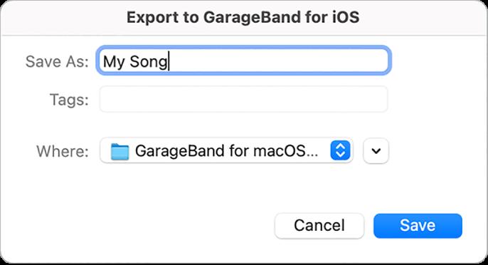 Exporter vers GarageBand pour iOS.