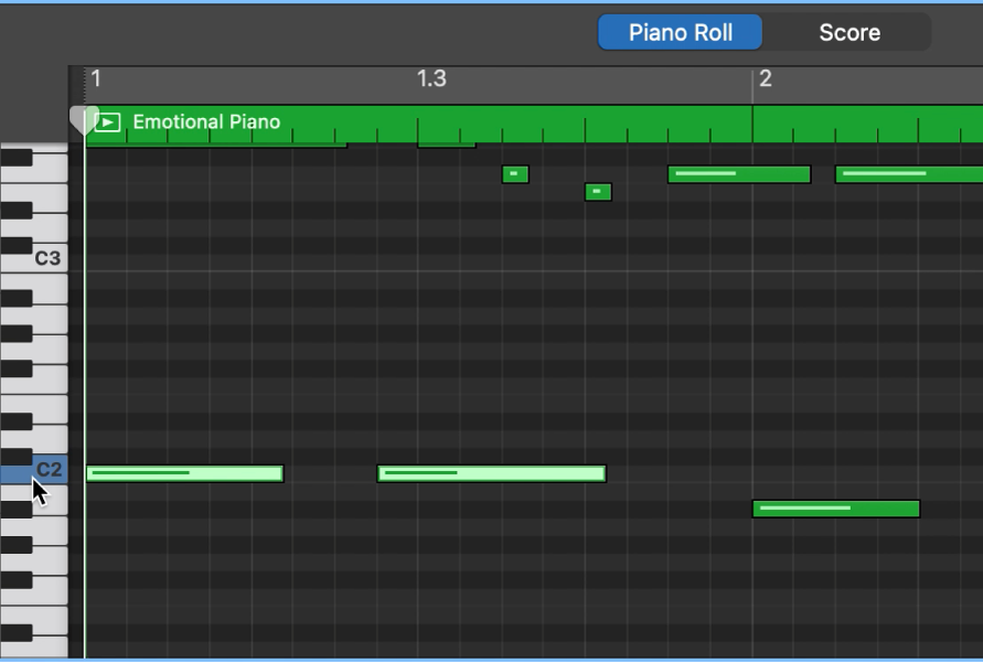Sélection de notes de même hauteur tonale en cliquant sur le clavier présent le long du bord gauche de l'éditeur de partition défilante.
