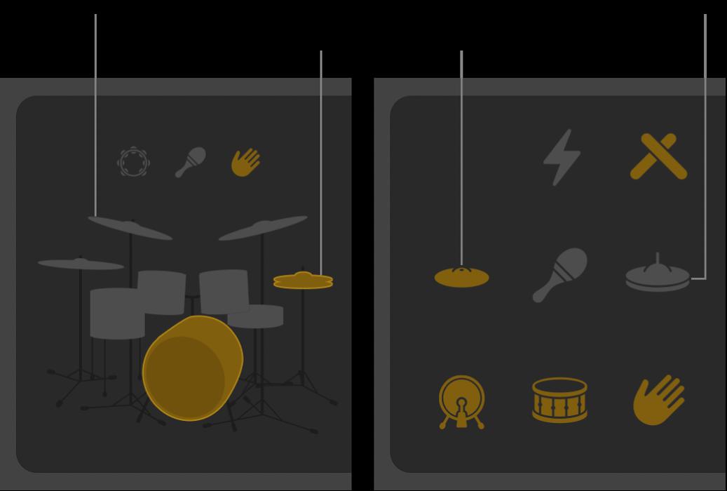 Pièces de l'ensemble de batterie activées et désactivées dans l'éditeurDrummer.