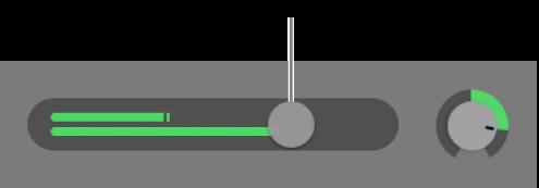 Curseur de volume dans l'en-tête de piste.