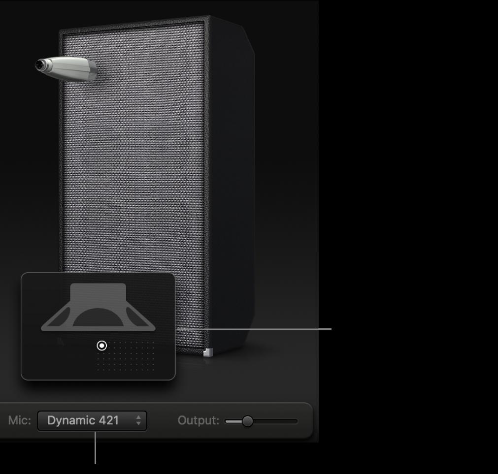 Zone de l'enceinte de BassAmpDesigner présentant le menu Mic et la grille de positionnement du micro.