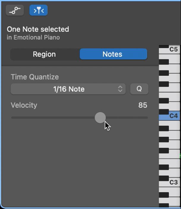 Modification de la vélocité des notes dans l'éditeur de partition défilante.