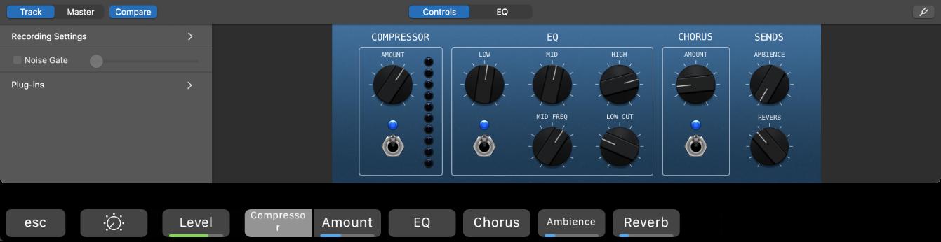 Figure. SmartControls pour une piste de guitare acoustique et raccourcis dynamiques des SmartControls pour cet écran.