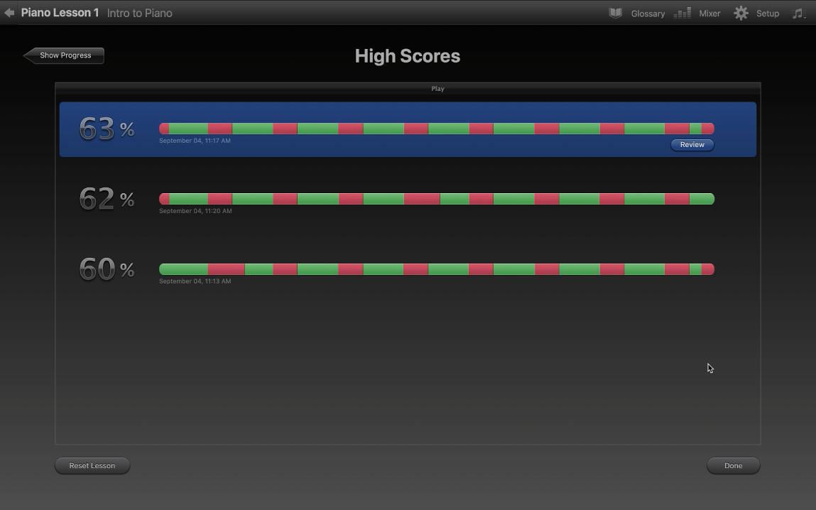 Résultats affichés dans la fenêtre Meilleurs scores.