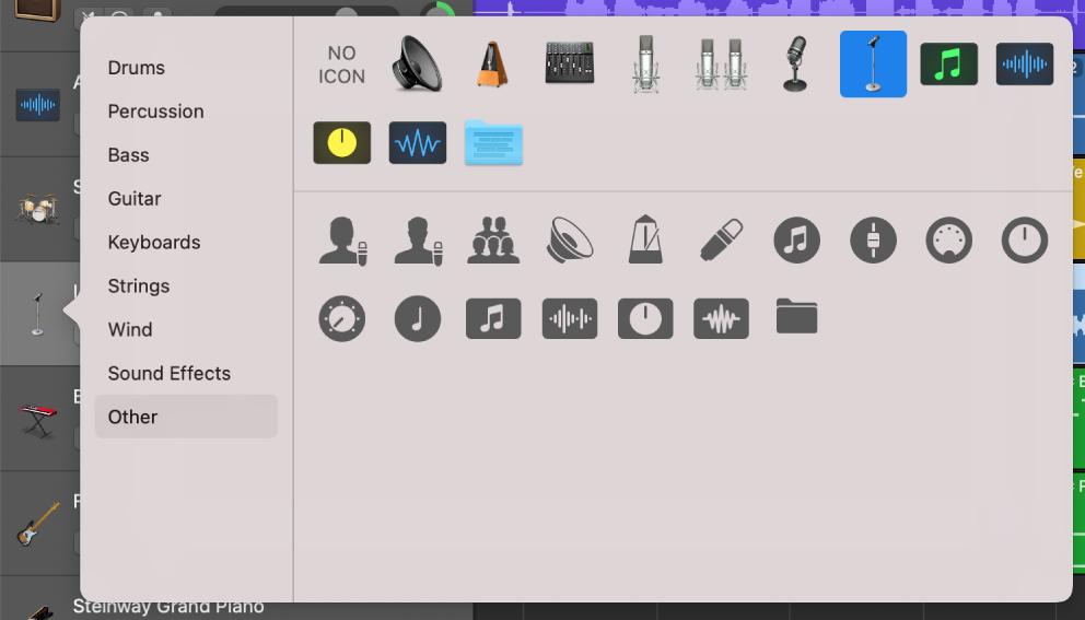 Sélection d'une icône de piste dans le menu contextuel Icône.