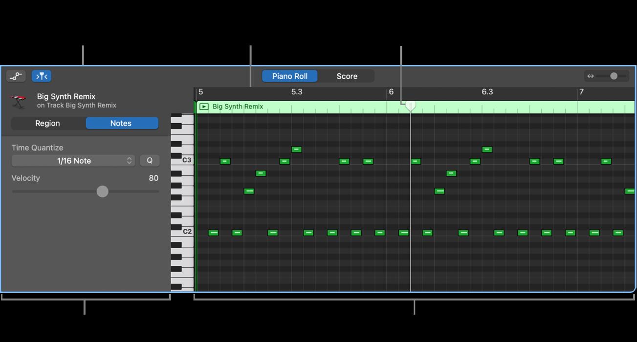 Éditeur de partition défilante, avec mise en évidence d'un événement de note MIDI.